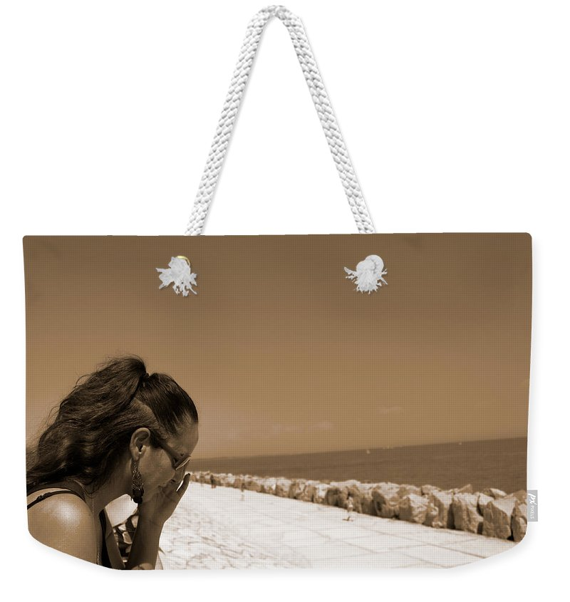 Sea Weekender Tote Bag featuring the photograph The Lady And The Sea by Donato Iannuzzi