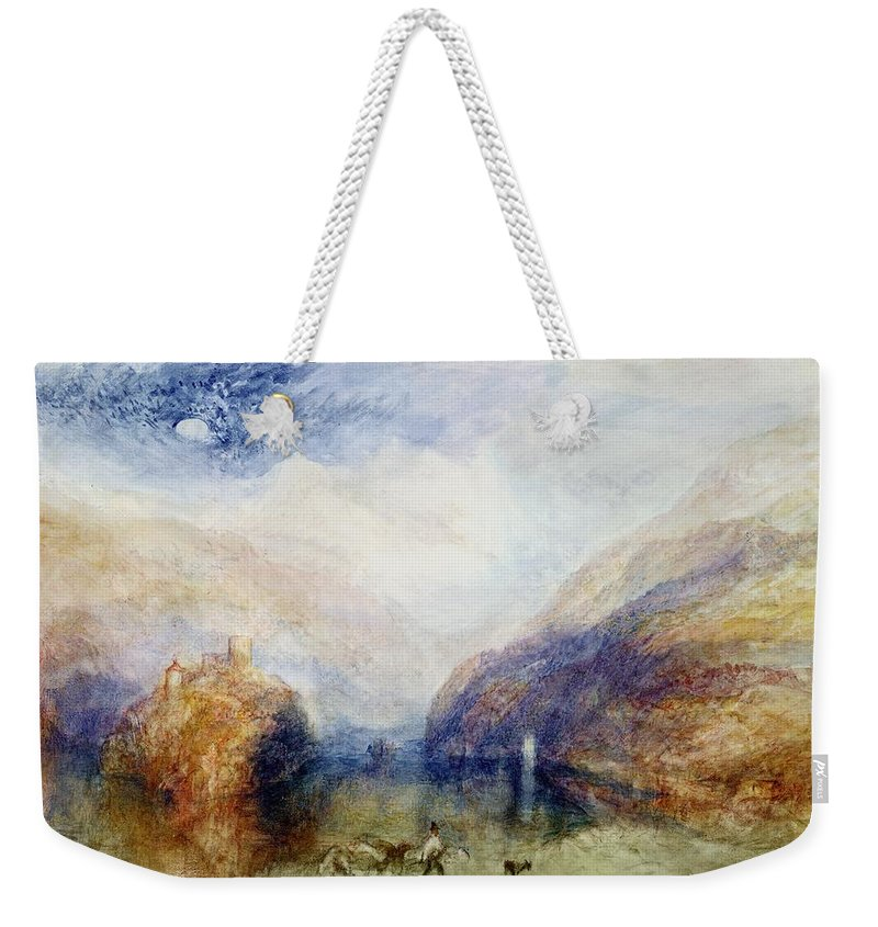 Alps; Alpine; Romantic; Near Schwyz; Mountainous; Castle; Swiss Landscape; Romanticist; Romanticism Weekender Tote Bag featuring the painting The Lauerzersee With The Mythens by Joseph Mallord William Turner