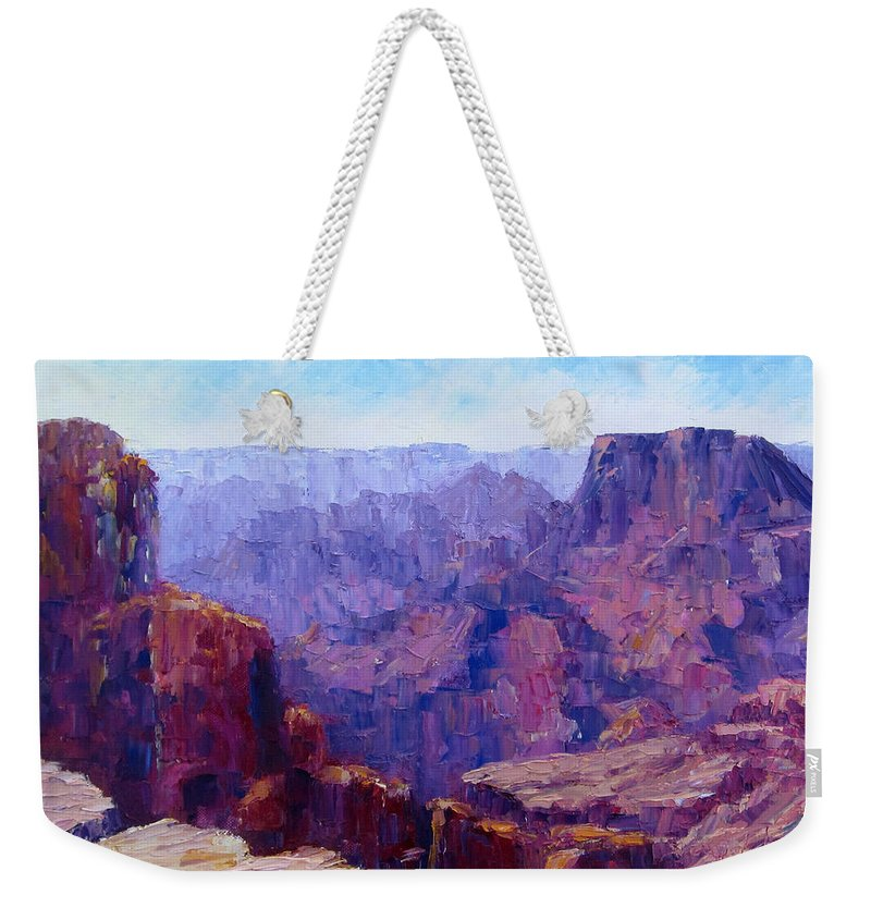 Grand Canyon Weekender Tote Bag featuring the painting The Ledge by Terry Chacon
