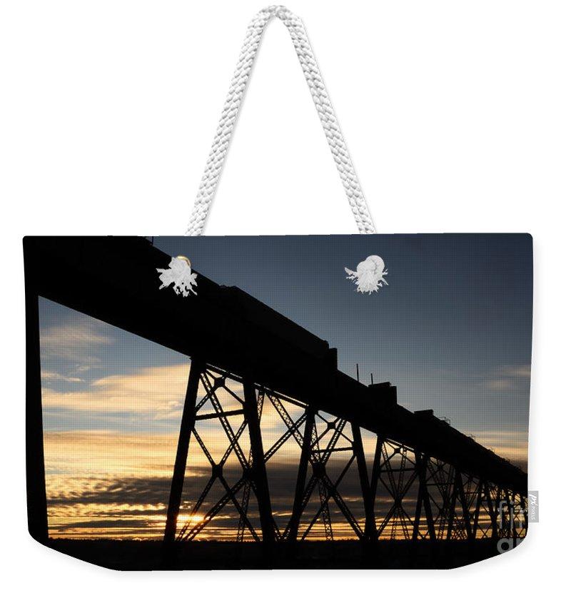 Lethbridge Weekender Tote Bag featuring the photograph The Lethbridge Bridge by Vivian Christopher