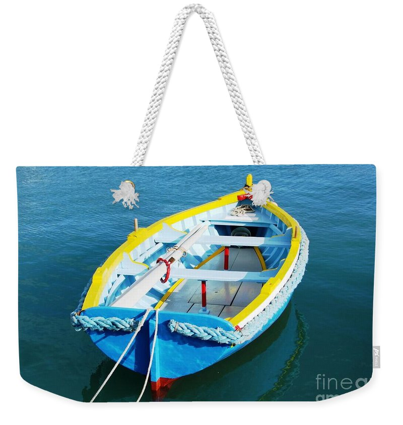 Boats Weekender Tote Bag featuring the digital art The Little Boat. by Alfie Borg
