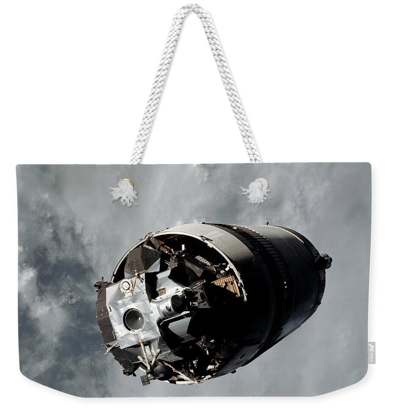 1969 Weekender Tote Bag featuring the photograph The Lunar Module Spider Of The Apollo 9 by Stocktrek Images