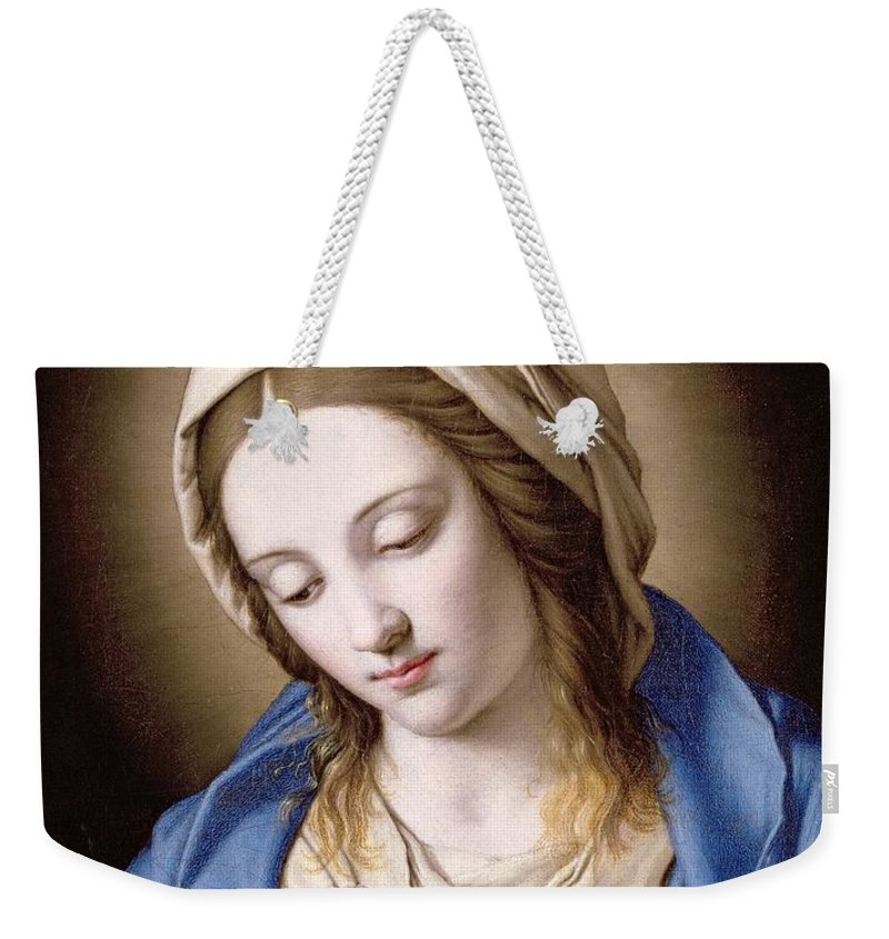 Mary Weekender Tote Bag featuring the painting The Madonna Praying by Il Sassoferrato