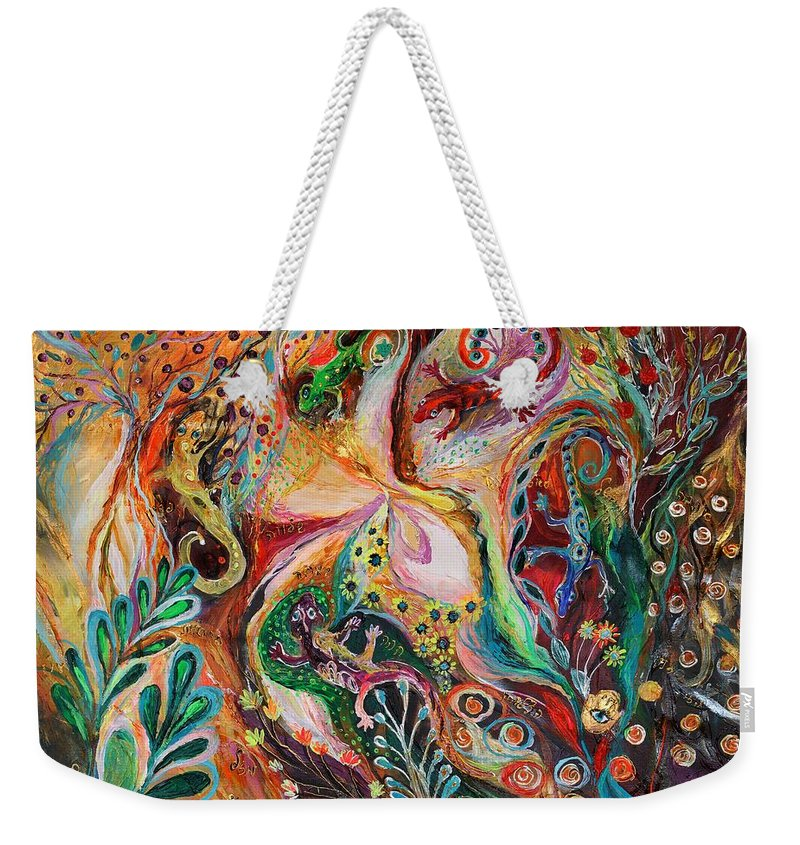 Original Weekender Tote Bag featuring the painting The Magic Circle... Available For Direct Purchase On Www.elenakotliarker.com by Elena Kotliarker