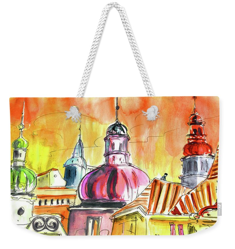 Travel Weekender Tote Bag featuring the painting The Magical Roofs Of Prague 01 Bis by Miki De Goodaboom