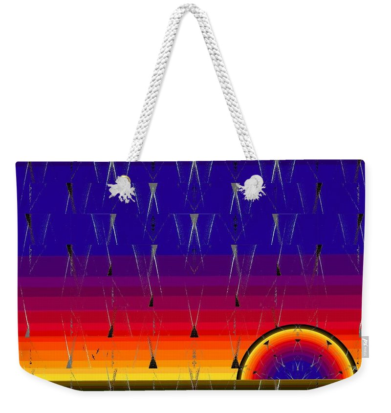 Abstract Weekender Tote Bag featuring the digital art The Meeting by Tim Allen