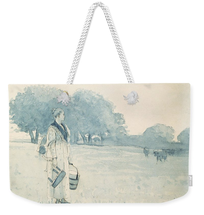 The Milkmaid Weekender Tote Bag featuring the painting The Milkmaid by Winslow Homer