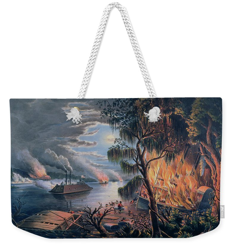 The Mississippi In Time Of War Weekender Tote Bag featuring the painting The Mississippi In Time Of War by Frances Flora Bond Palmer