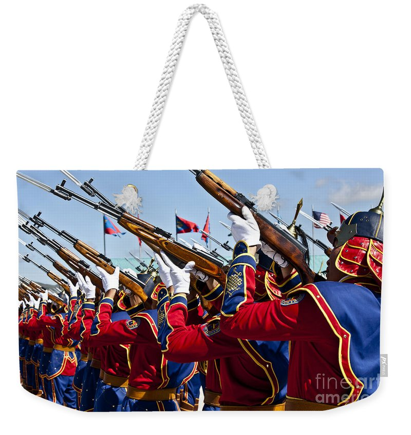Ulaanbaatar Weekender Tote Bag featuring the photograph The Mongolian State Honor Guard by Stocktrek Images