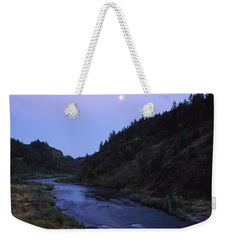 Moons Weekender Tote Bag featuring the photograph The Moon Appears Over The Rogue River by Melissa Farlow