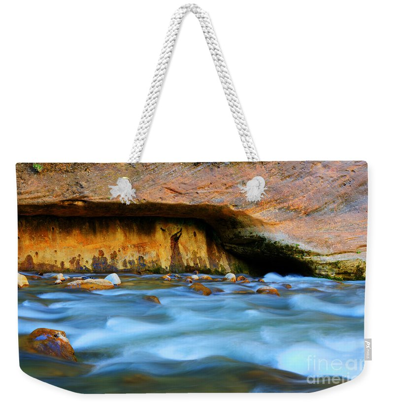 Virgin River Weekender Tote Bag featuring the photograph The Narrows Virgin River Zion 4 by Bob Christopher