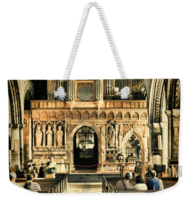 St Davids Cathedral Weekender Tote Bag featuring the photograph The Nave At St Davids Cathedral 2 by Steve Purnell