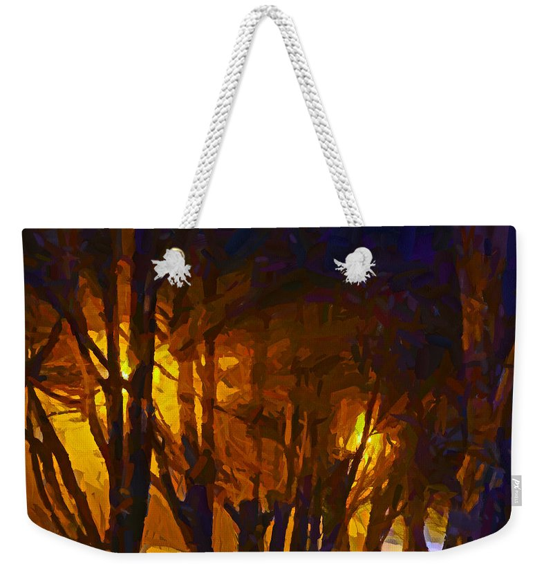 Street Light Weekender Tote Bag featuring the digital art The Night Lights by Steve Taylor