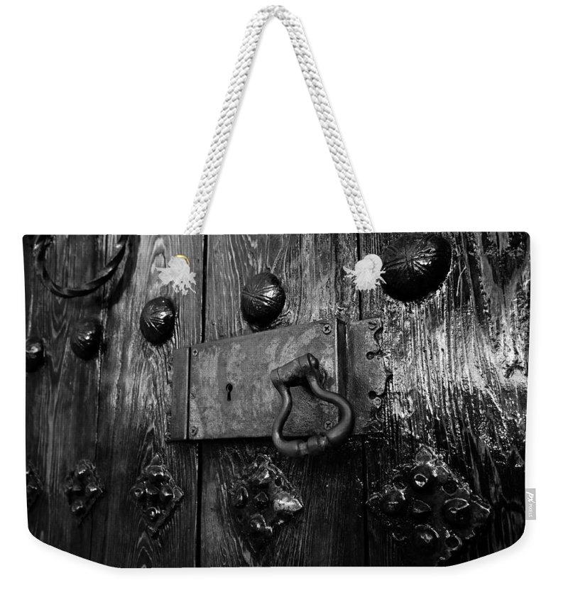 Fine Art Photography Weekender Tote Bag featuring the photograph The Old Church Door by David Lee Thompson