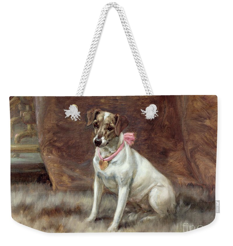 The Pink Bow Weekender Tote Bag featuring the painting The Pink Bow by Maud Earl