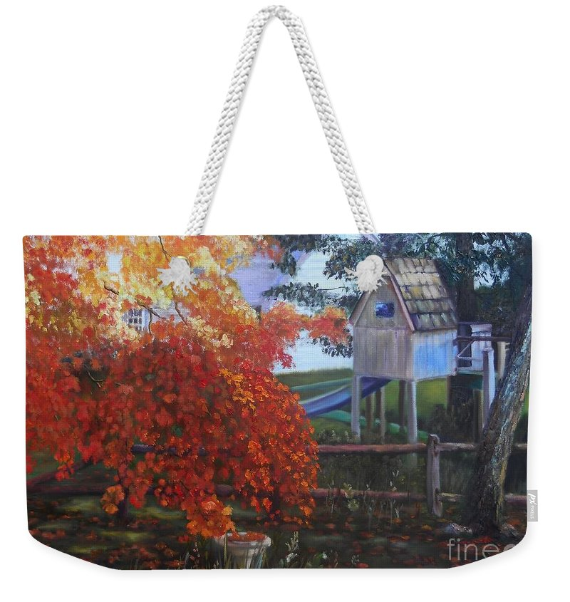 Landscape Weekender Tote Bag featuring the painting The Playhouse In Fall by Marlene Book