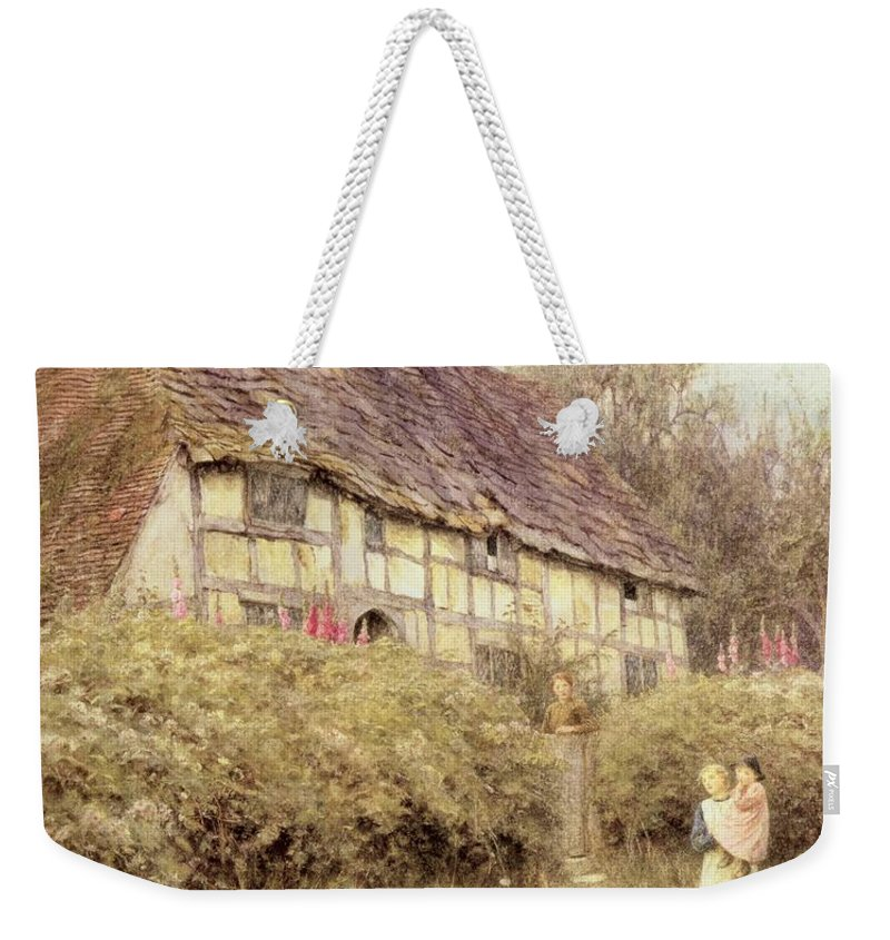 Cottage; Mother And Child; Gate; Rural Scene; Country; Countryside; Home; Path; Wildflowers; Picturesque; Idyllic; Daughter; Timber Frame; Half-timbered; Female Weekender Tote Bag featuring the painting The Priest's House West Hoathly by Helen Allingham