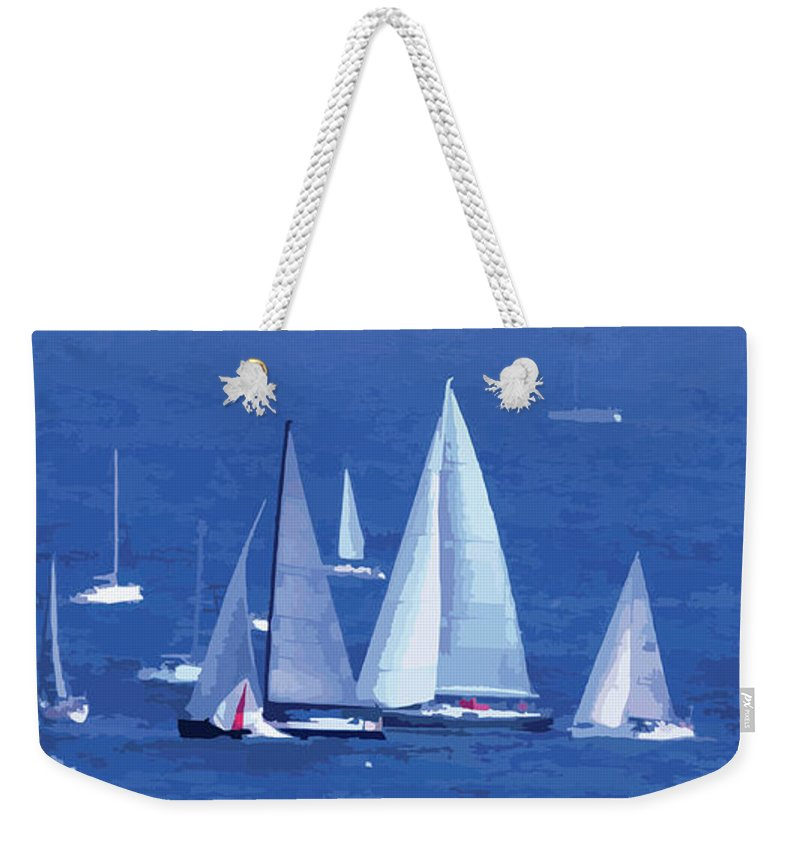 Seascape Weekender Tote Bag featuring the digital art The Race. by Alfie Borg