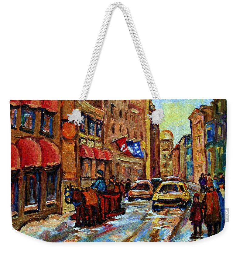 Horses Weekender Tote Bag featuring the painting The Red Sled by Carole Spandau