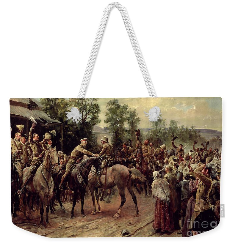 Boer War; Soldiers; Troops; Victory; Rescue; Town; Battle; Aftermath; Rejoicing; Mounted; Riding; Horse; Horseback; Officers; Officer; Greeting; Welcoming; Soldiers; Troops; Raising; Hats; Caps; Hat; Cap; Joyful; Cavalry; Victorious; Celebrating; Celebration Weekender Tote Bag featuring the painting The Relief Of Ladysmith On 27th February 1900 by John Henry Frederick Bacon