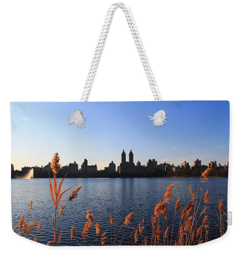 Central Park Weekender Tote Bag featuring the photograph The Reservior by Catie Canetti
