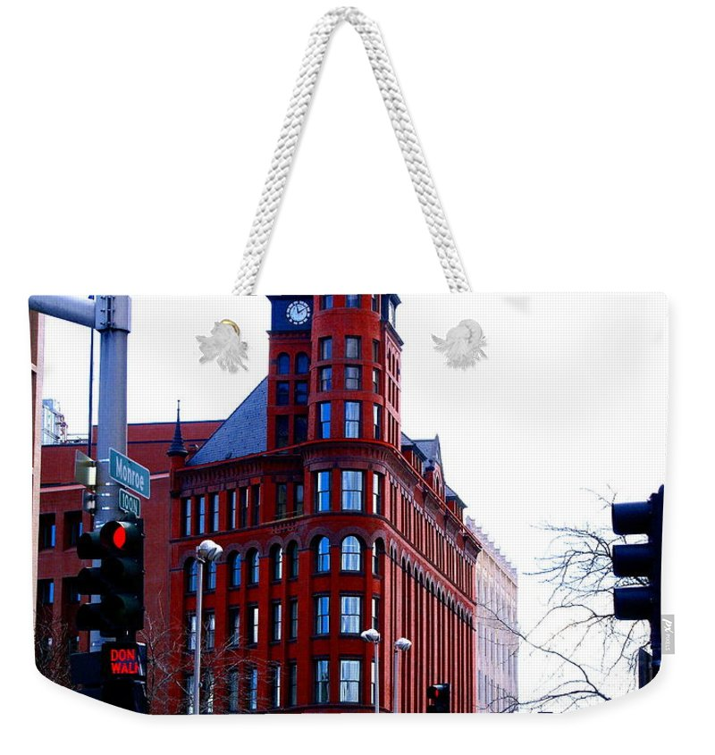 Spokane Weekender Tote Bag featuring the photograph The Review Building by Ben Upham III