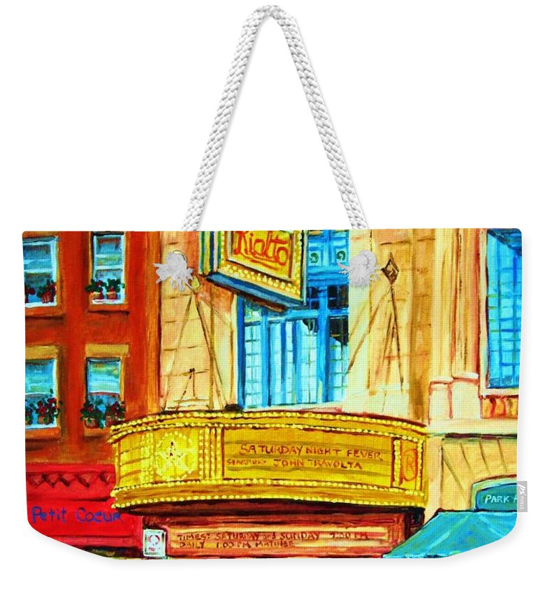 Street Scene Weekender Tote Bag featuring the painting The Rialto Theatre by Carole Spandau
