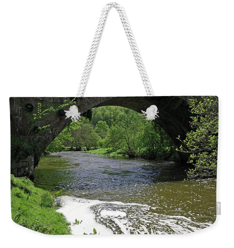 Derbyshire Weekender Tote Bag featuring the photograph The River Dove Beneath Coldwall Bridge by Rod Johnson