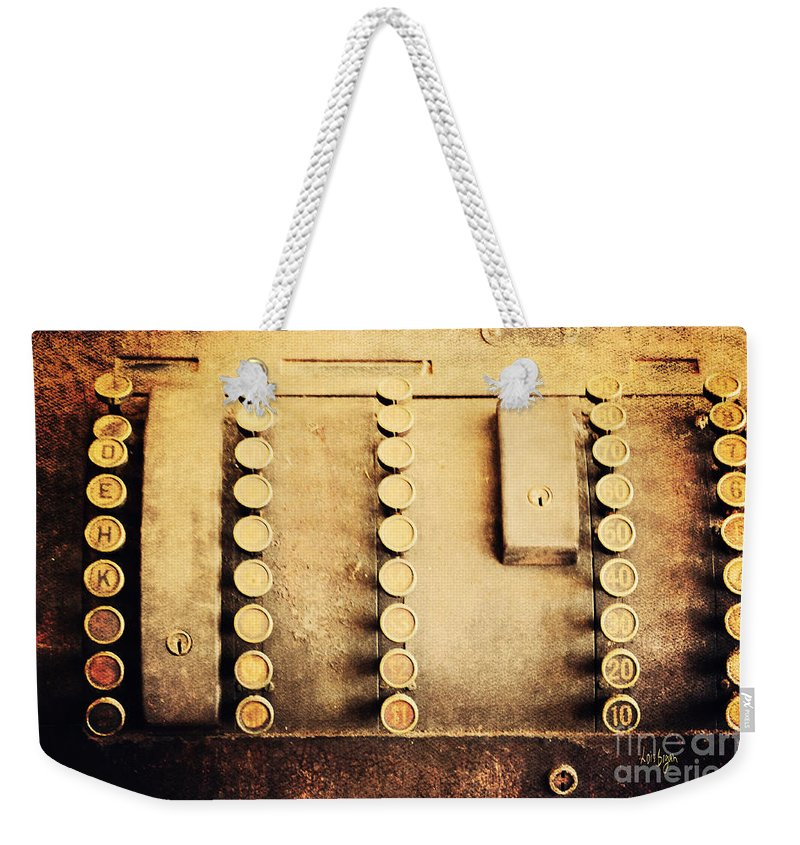 Cash Register Weekender Tote Bag featuring the photograph The Root Of All Evil by Lois Bryan