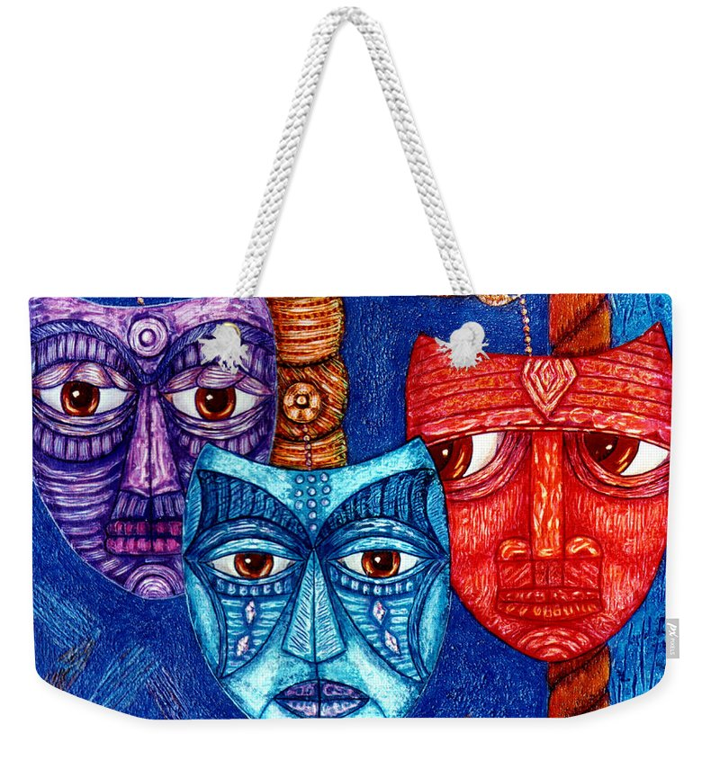 The Sadness Weekender Tote Bag featuring the painting The Sadness The Mistrust And The Fatigue by Madalena Lobao-Tello