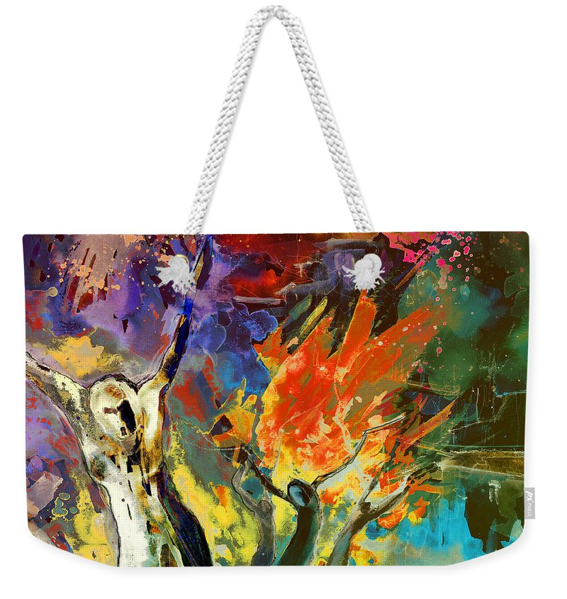 Fantascapes Weekender Tote Bag featuring the painting The Scream 02 by Miki De Goodaboom
