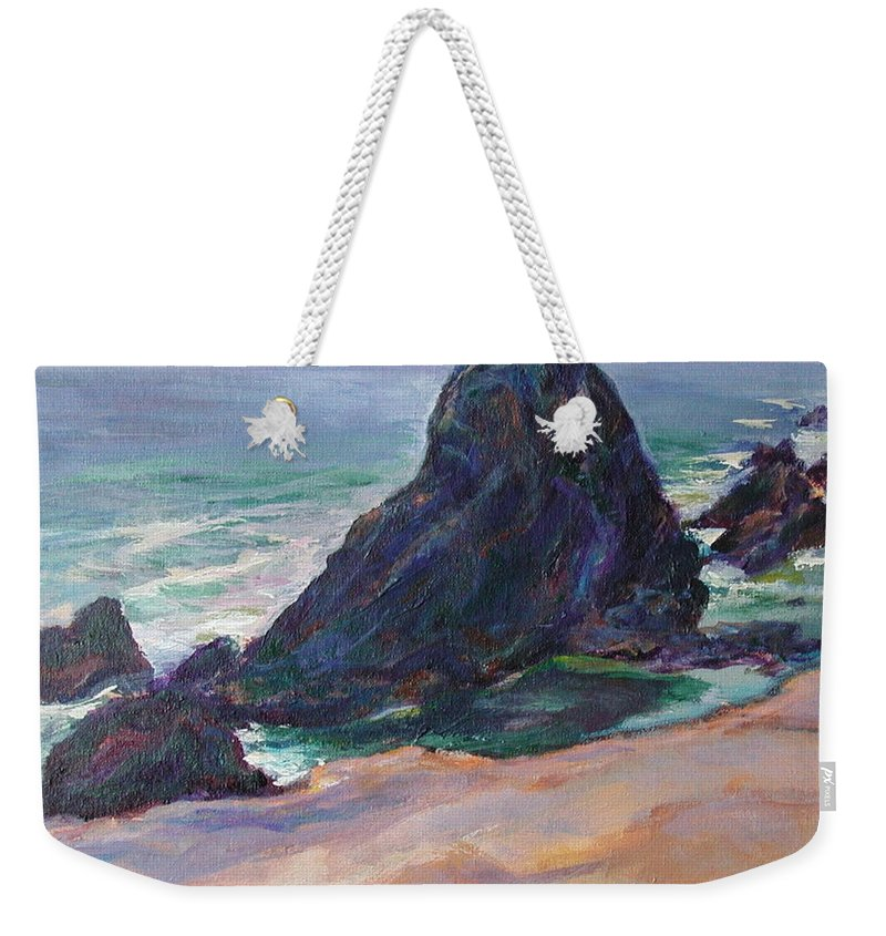 Seascape Weekender Tote Bag featuring the painting The Seal Rock March by Quin Sweetman