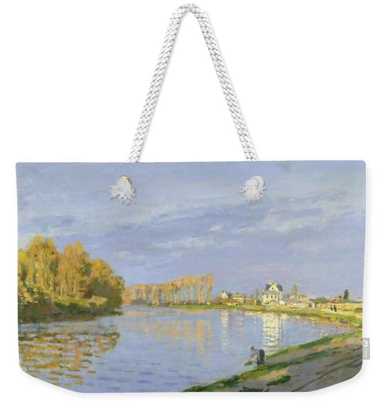 The Weekender Tote Bag featuring the painting The Seine At Bougival by Claude Monet