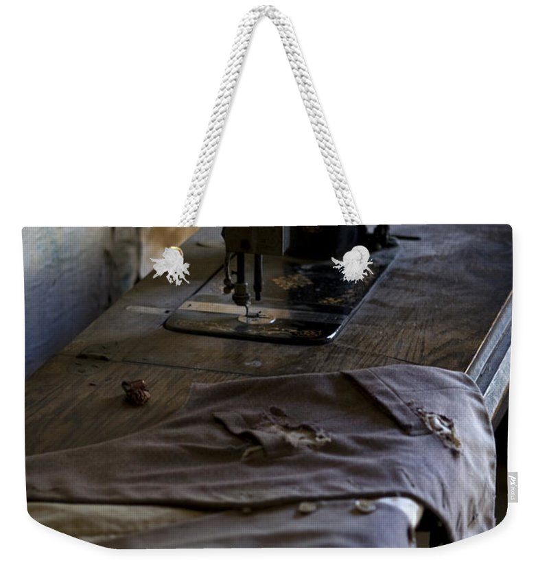 Sewing Machine Weekender Tote Bag featuring the photograph The Sewing Machine by Lorraine Devon Wilke