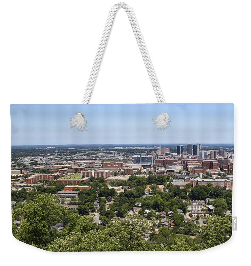 Birmingham Weekender Tote Bag featuring the photograph The Southern City Of Birmingham Alabama by Kathy Clark