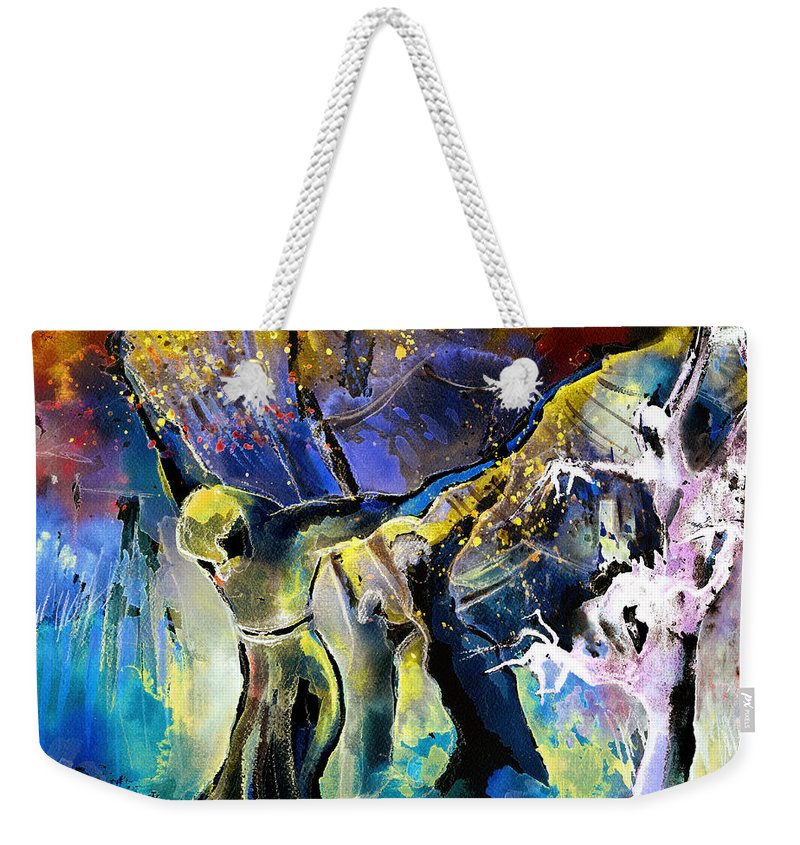 Fantasy Weekender Tote Bag featuring the painting The Spell by Miki De Goodaboom