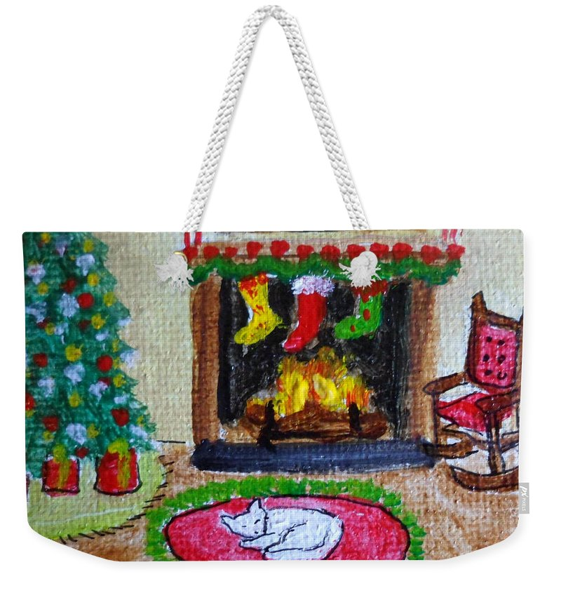 Fireside Weekender Tote Bag featuring the painting The Stockings Were Hung by Julie Brugh Riffey