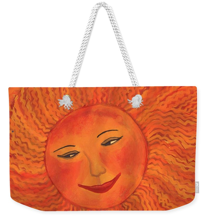 Sun Weekender Tote Bag featuring the painting The Sun God Detail Of Red Sky At Night by Sushila Burgess