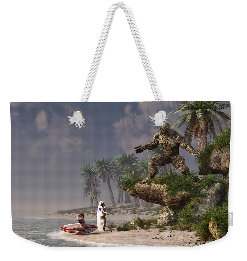 Surf Weekender Tote Bag featuring the digital art The Surf God  by Daniel Eskridge