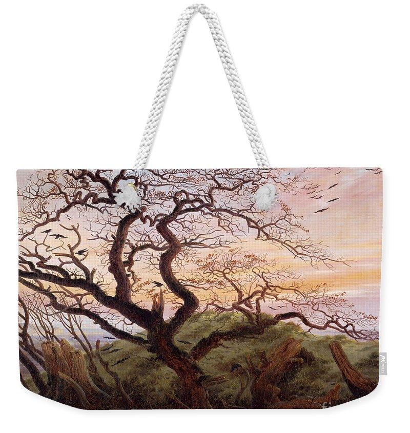 The Tree Of Crows Weekender Tote Bag featuring the painting The Tree Of Crows by Caspar David Friedrich