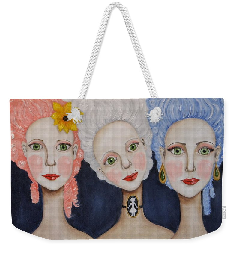 Big Hair Weekender Tote Bag featuring the painting The Triplets by Cassie Foster