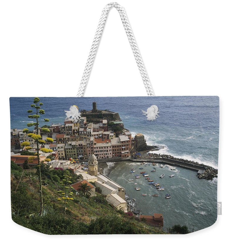 Europe Weekender Tote Bag featuring the photograph The Village Of Vernazaa On Italys by Anne Keiser
