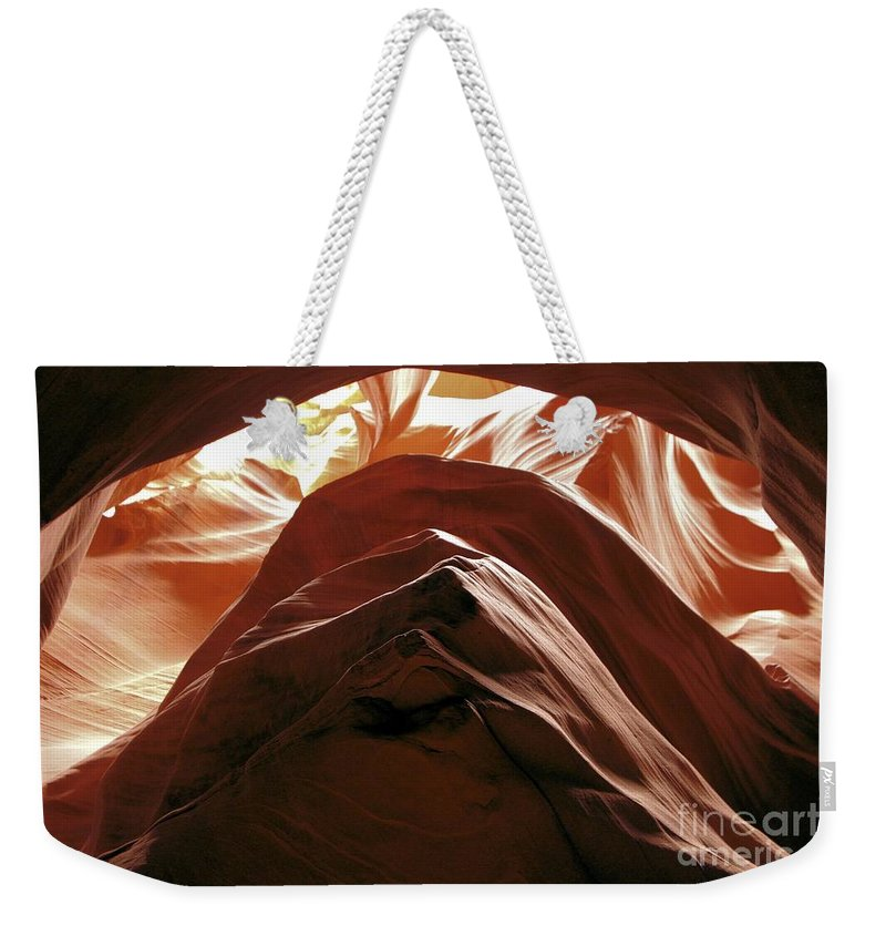 Antelope Canyon Weekender Tote Bag featuring the photograph The Way Out by Adam Jewell