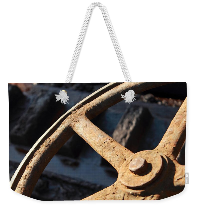 Wheel Old Photograph Rust Rusty Bridge Close Up Expressionism Rail Weekender Tote Bag featuring the photograph The Wheel by Steve K
