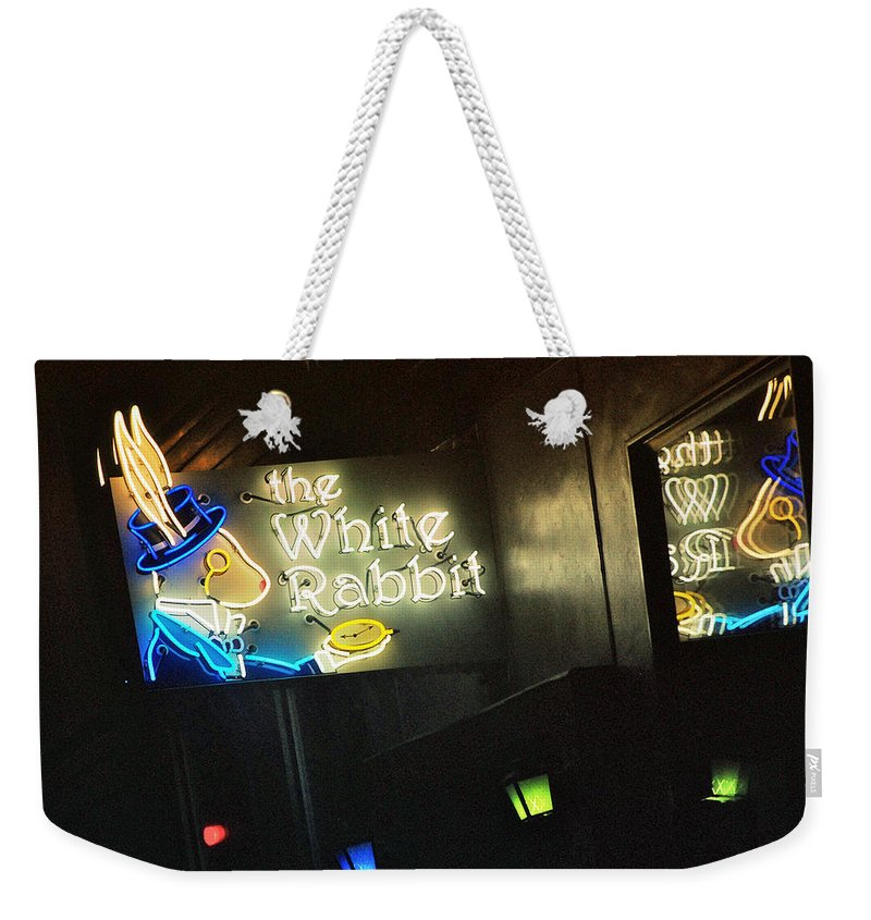 Neon Weekender Tote Bag featuring the photograph The White Rabbit by Kathleen Grace
