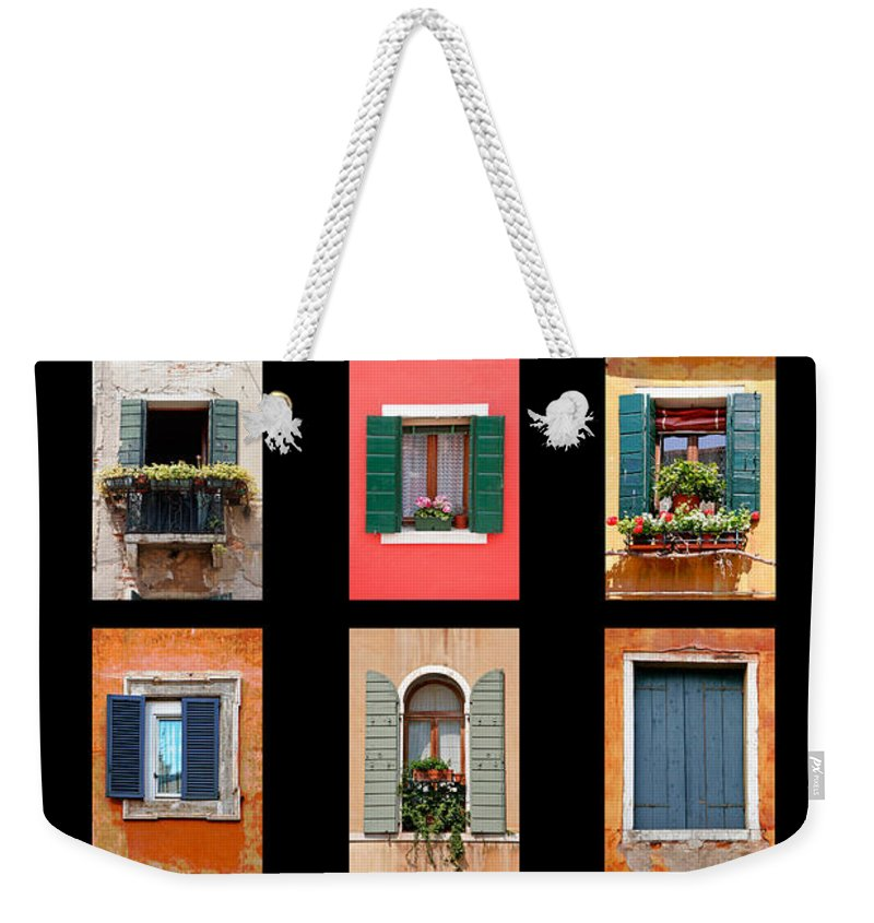 Architecture Weekender Tote Bag featuring the photograph The Windows Of Venice by Peter Tellone
