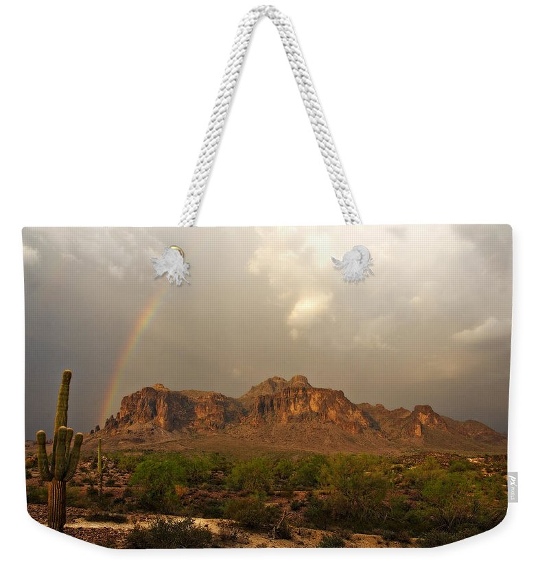 The Superstition Mountains Weekender Tote Bag featuring the photograph There's Gold At The End Of The Rainbow by Saija Lehtonen
