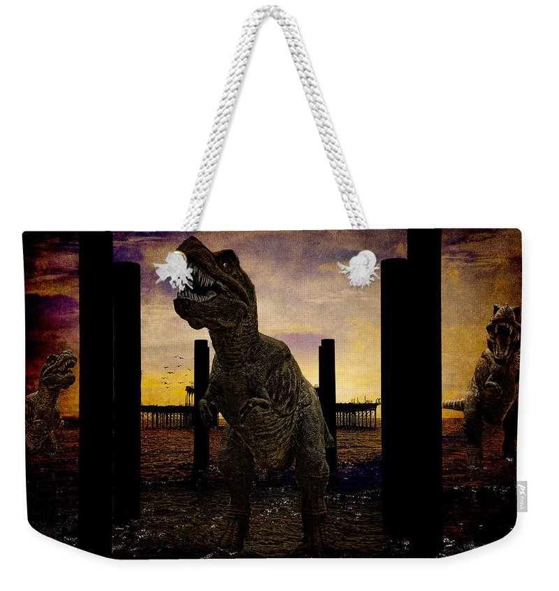 Tyrannosaur Weekender Tote Bag featuring the photograph There's Probably No Bathing In Brighton Today by Chris Lord