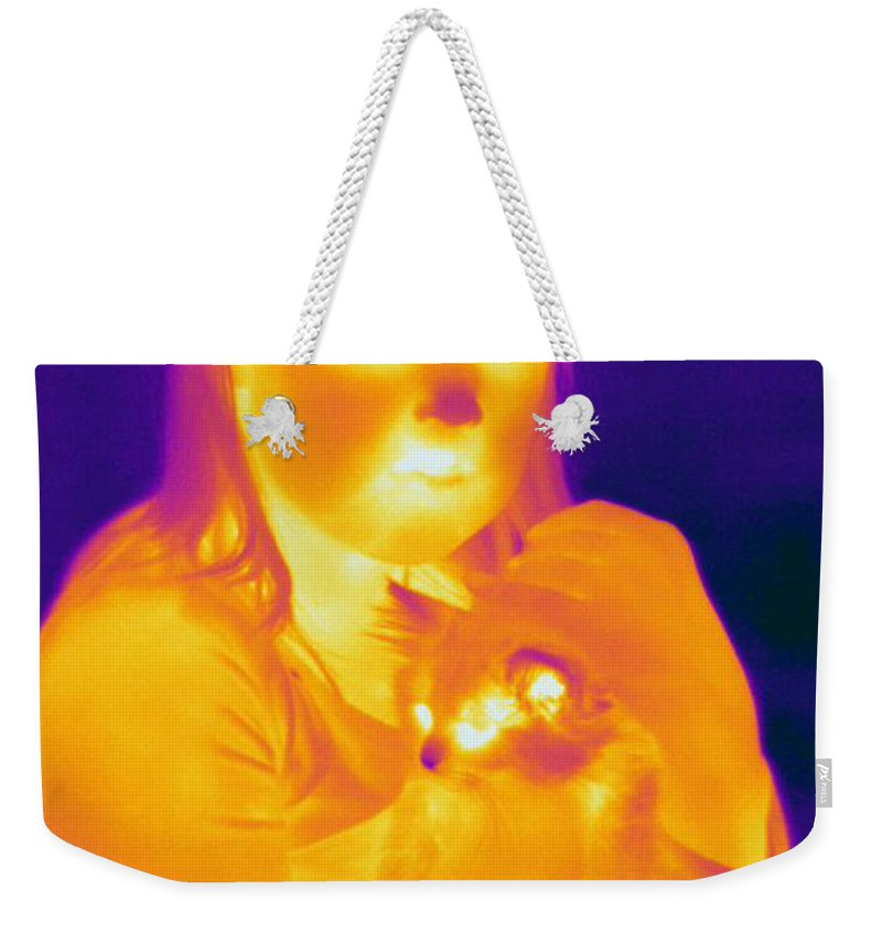 Thermogram Weekender Tote Bag featuring the photograph Thermogram Of A Girl And Cat by Ted Kinsman
