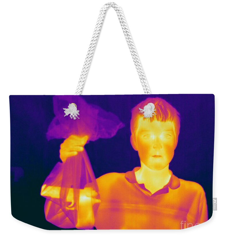 Thermogram Weekender Tote Bag featuring the photograph Thermogram Of A Hidden Gun by Ted Kinsman